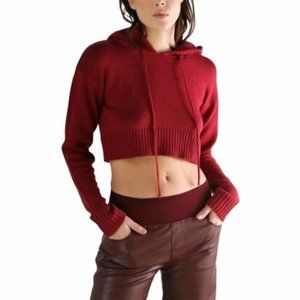 Kendall + Kylie Cropped Sweater Size XL Red NWT
